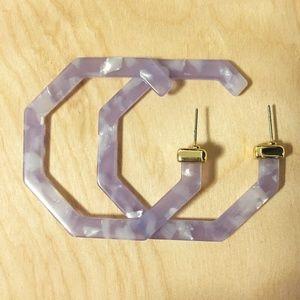 Acrylic Clear Purple Statement Earrings
